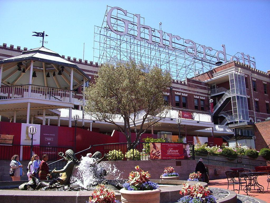 The Ghirardelli sign above Ghirardelli Square.