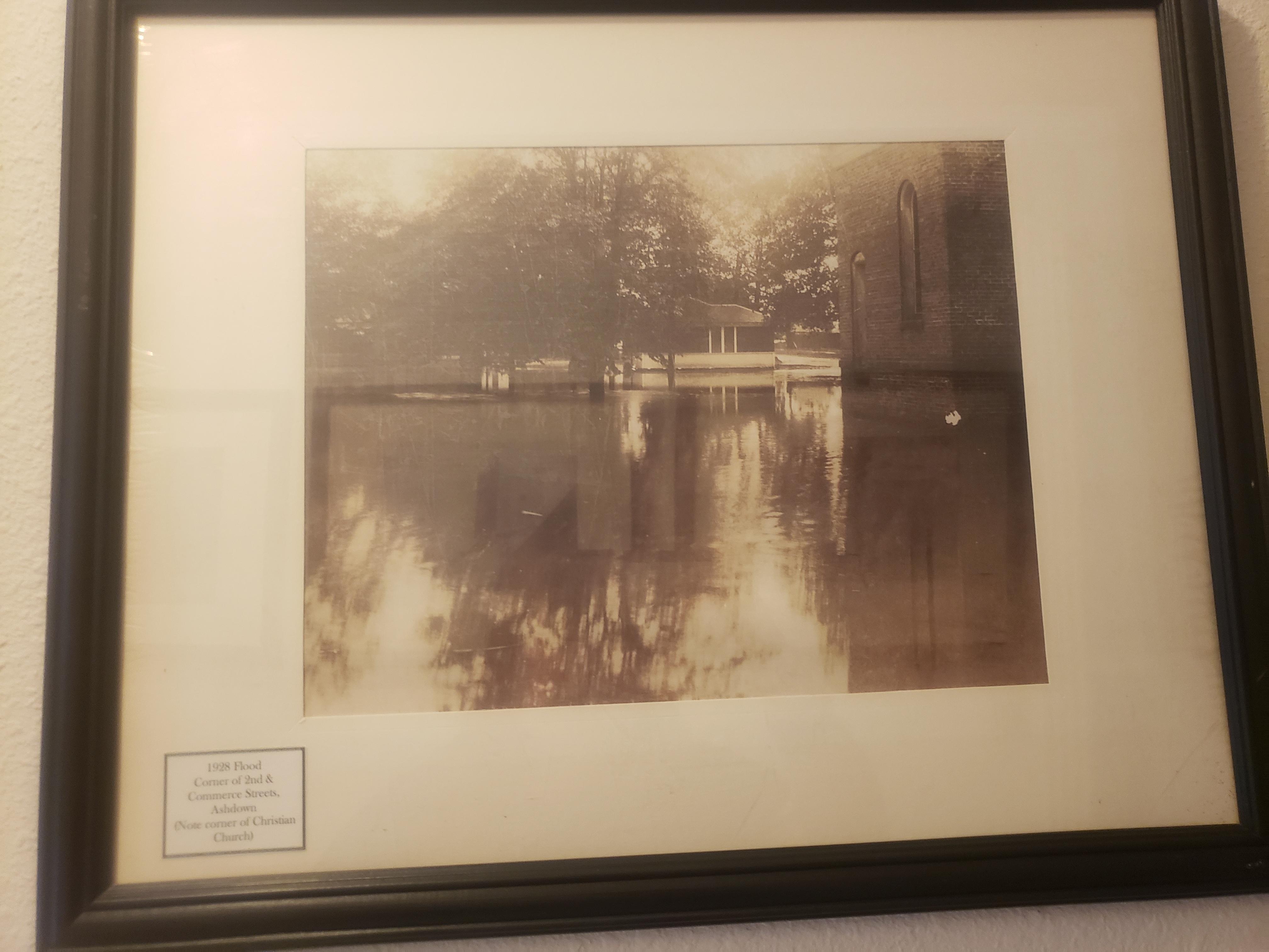 1928 Flood. Corner of 2nd & Commerce Streets, Ashdown. (Note corner of Christian Church)