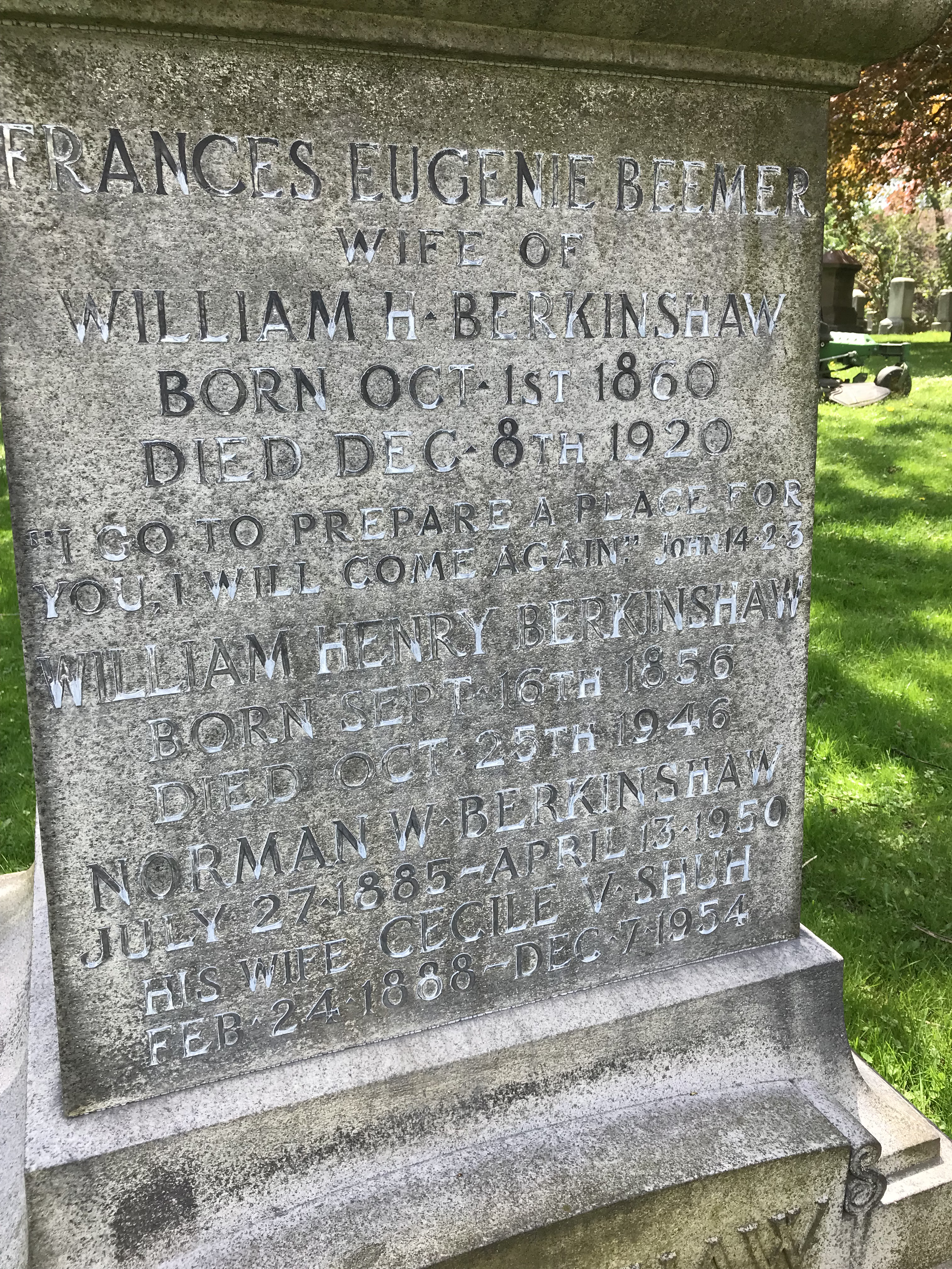 Berkinshaw family monument in Mount Pleasant Cemetery in Toronto