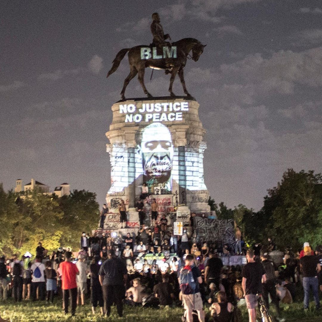 A Black Lives Matter protest in front of the Lee Monument in June 2020