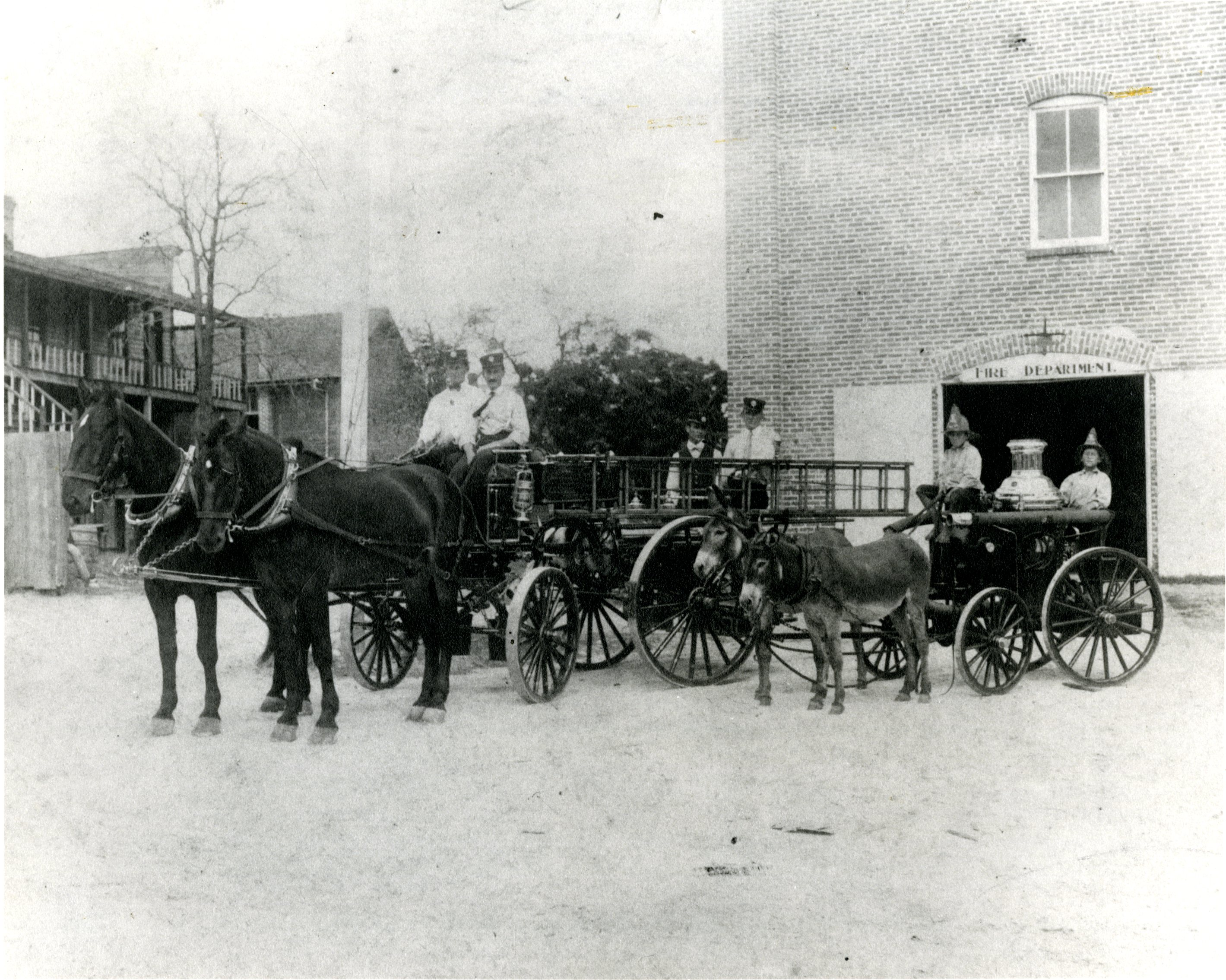 Fire Chief Anderson and firemen in horse and mule drawn fire engines, St. Petersburg, Florida, circa 1900.