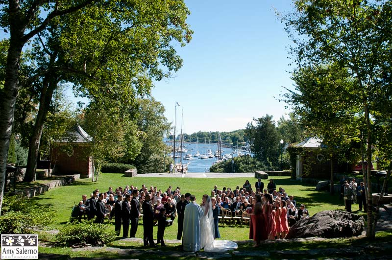 With views of Camden Harbor, the amphitheatre is a popular wedding location.
