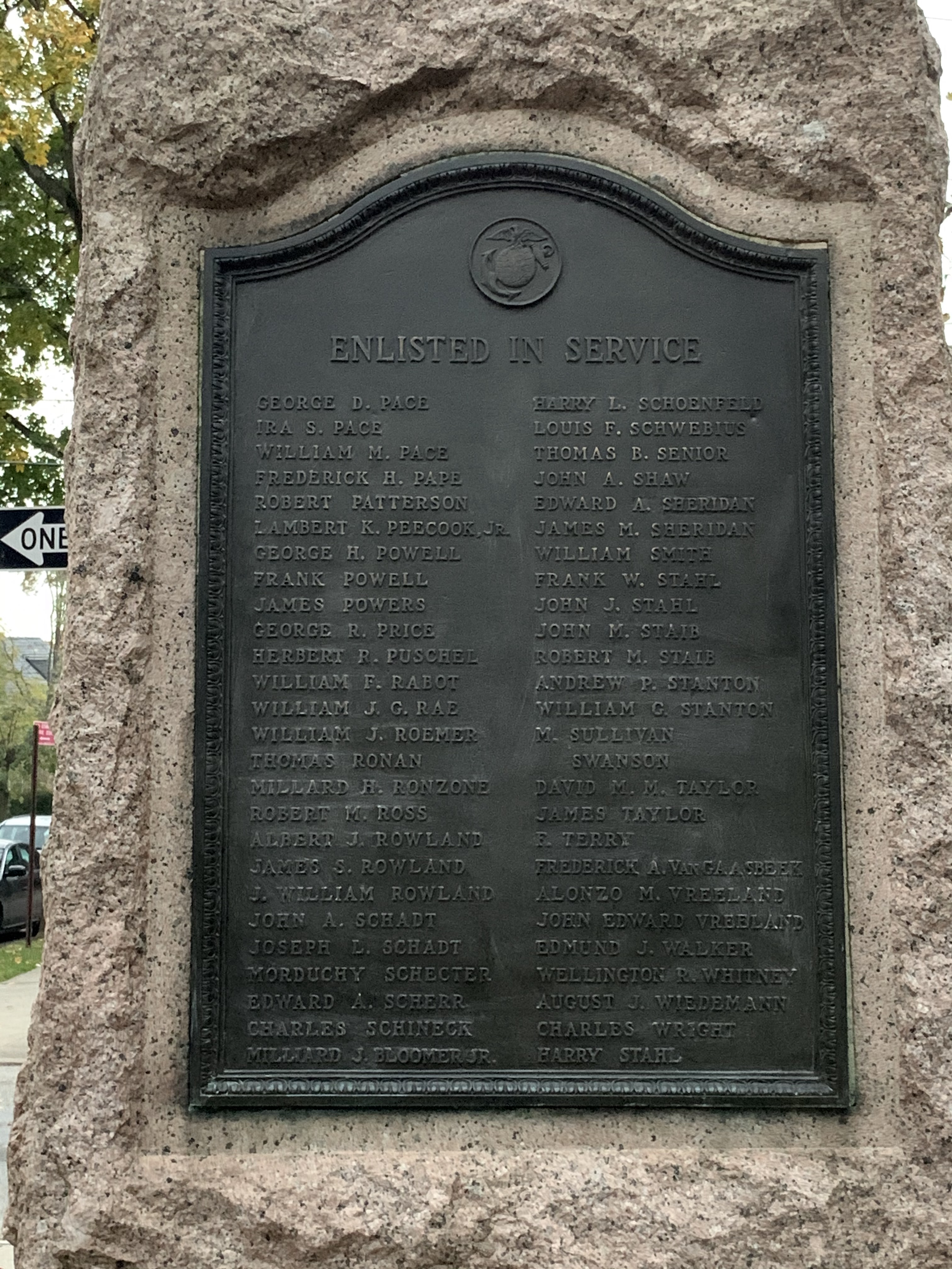 Plaque on right side