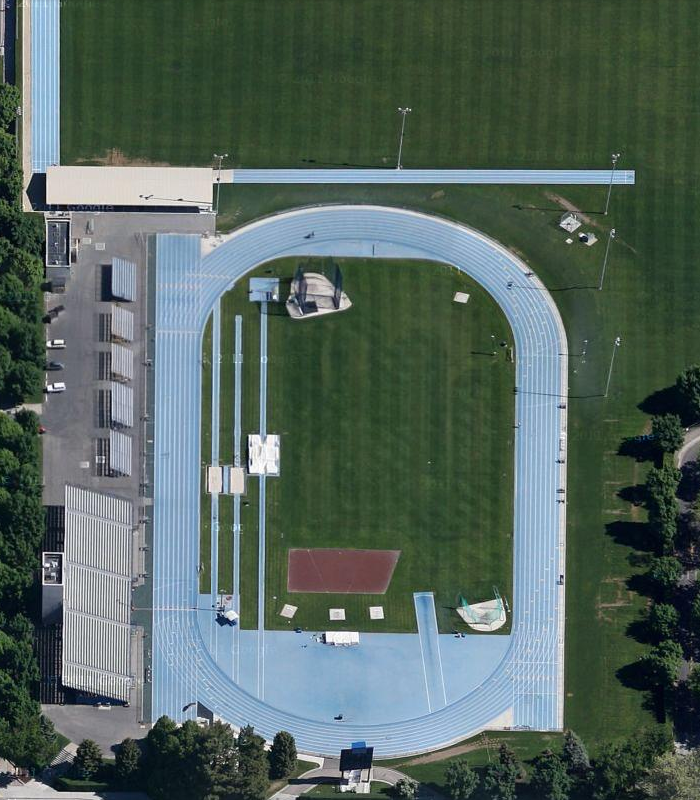 Scott Meier of Daily Track pic displays an overhead view of BYU Clarence F. Robison Track & Field Complex.