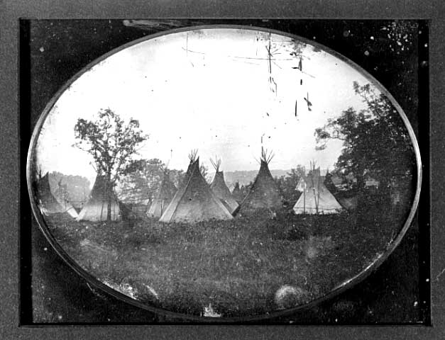 Native American tepees circa 1852, with the newly built Stevens house in the background