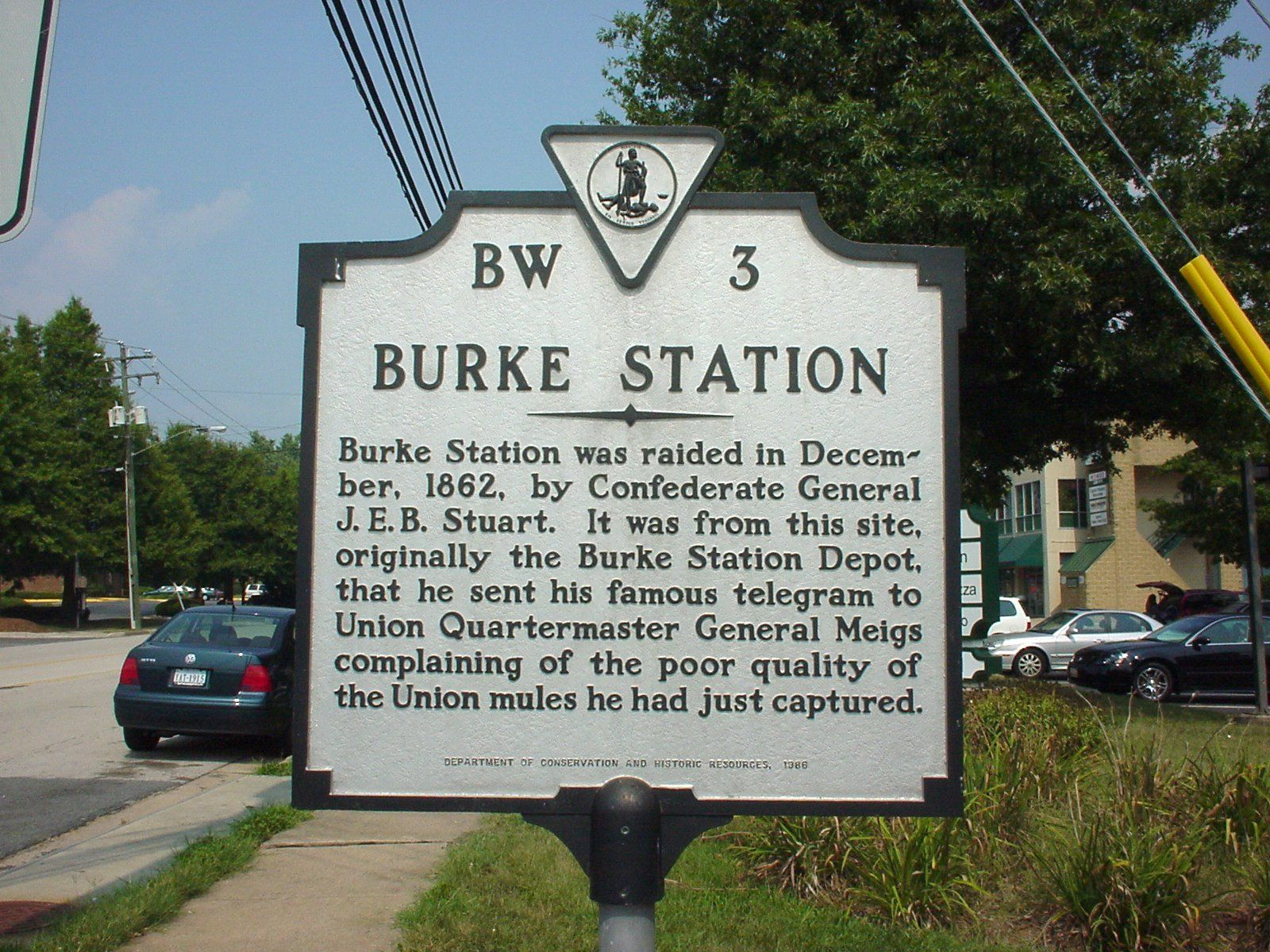 """Burke Station"" marker at the Burke's Station site"