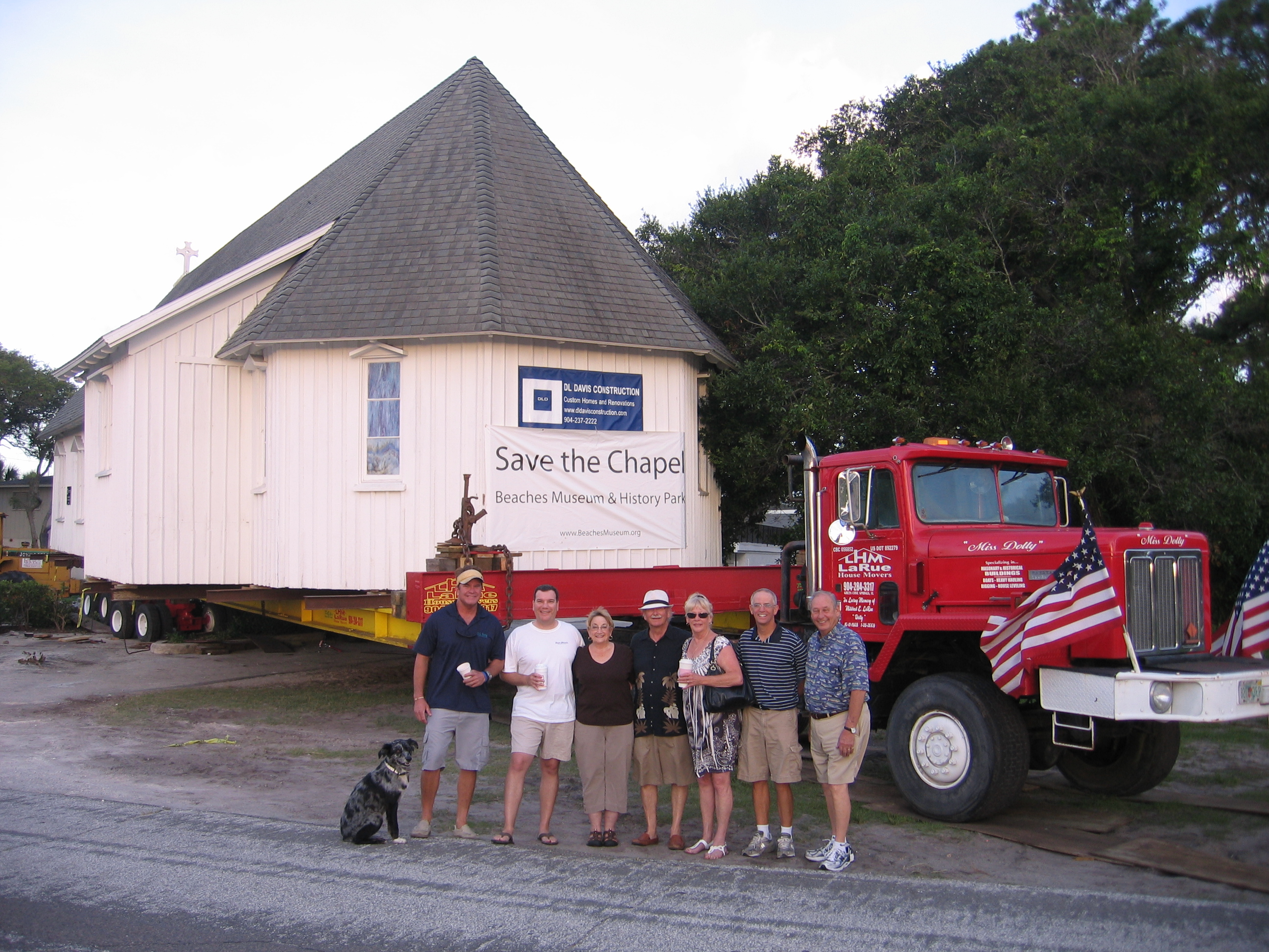 2012 move of church from Neptune Beach to Pablo History Park with campaign committee (and dog).  Note the absence of the tower.