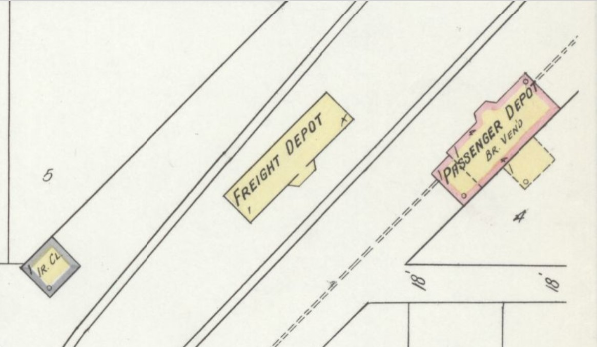 New depot/ passenger - brick veneered (red) and old depot/ freight - wood frame (yellow) on 1912 Sanborn map (p. 3)