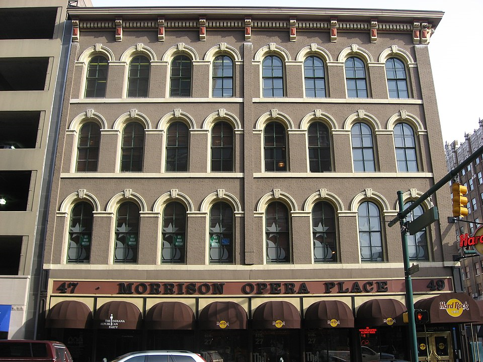 2010 photograph of Morrison Block by nyttend; Hard Rock Cafe and Indiana Repub;ican Party 1st floor (Wikipedia)