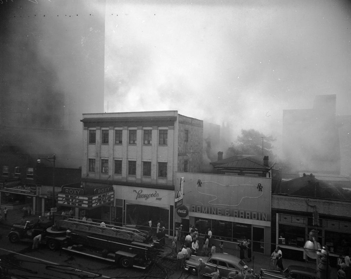 Smoke fills the air during the August 1952 fire at the Roxy