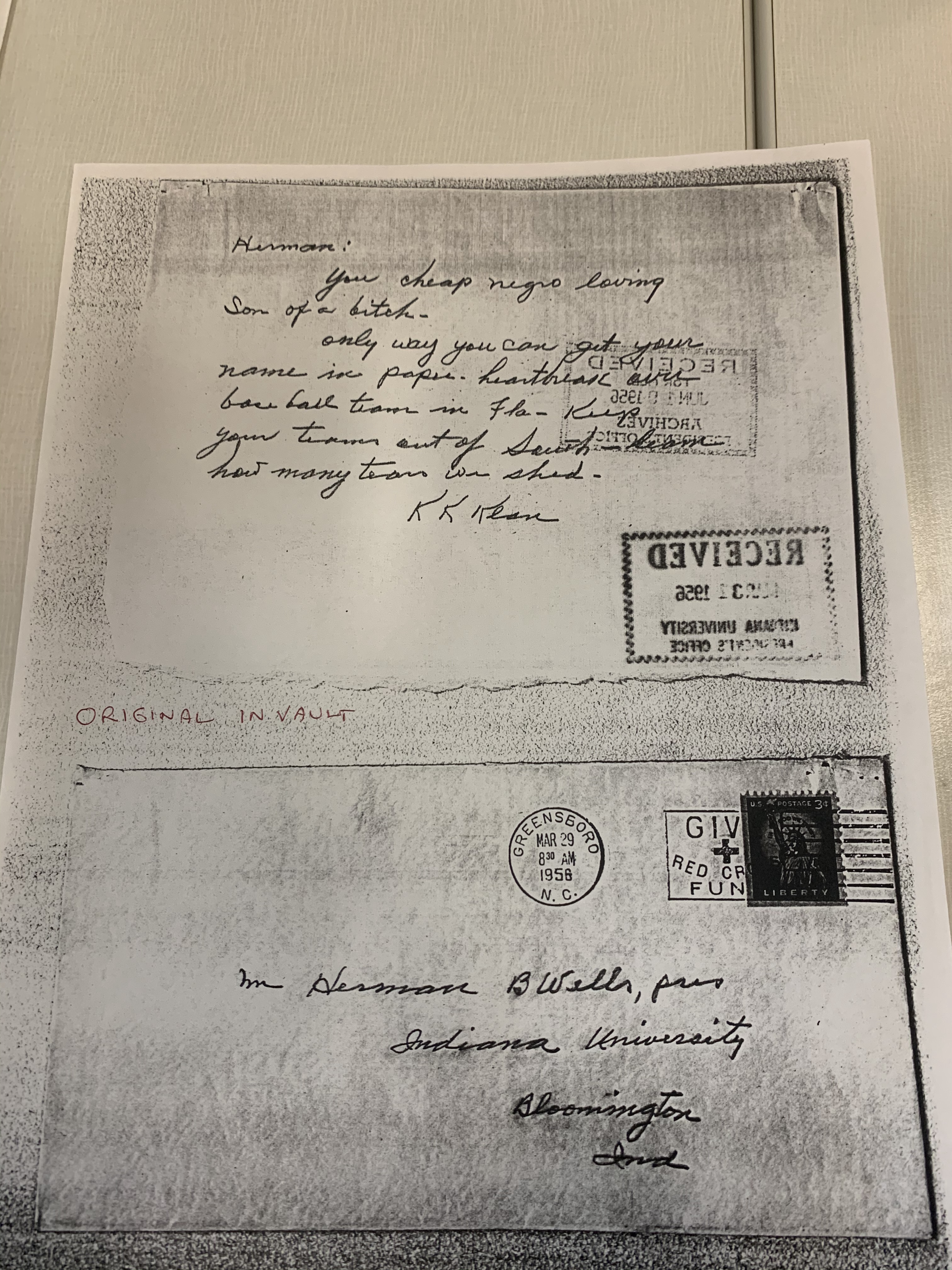 Racist letter sent to Herman B. Wells from the Ku Klux Klan. Despite receiving this, Wells did not back down in his support for Eddie Whitehead.