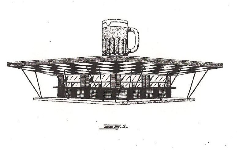 Frostop design with the giant mug, patented in 1954