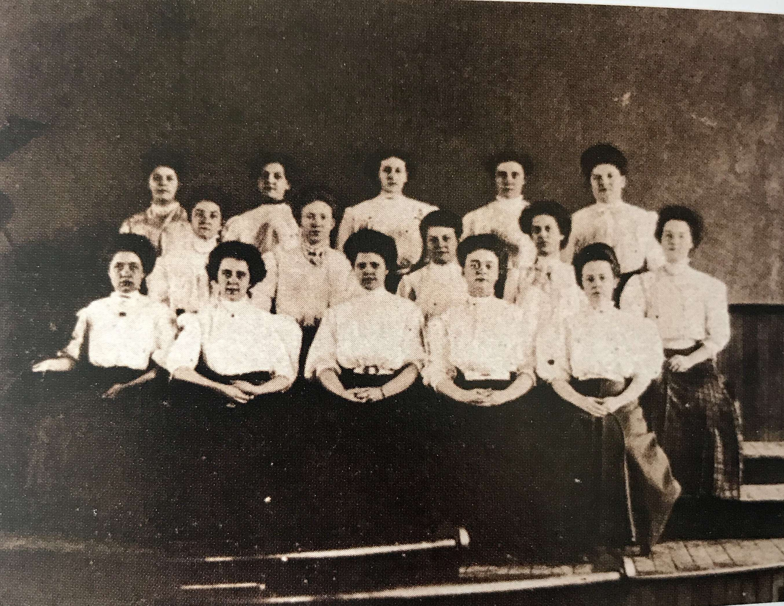 The women of the first graduating class at Westminster College