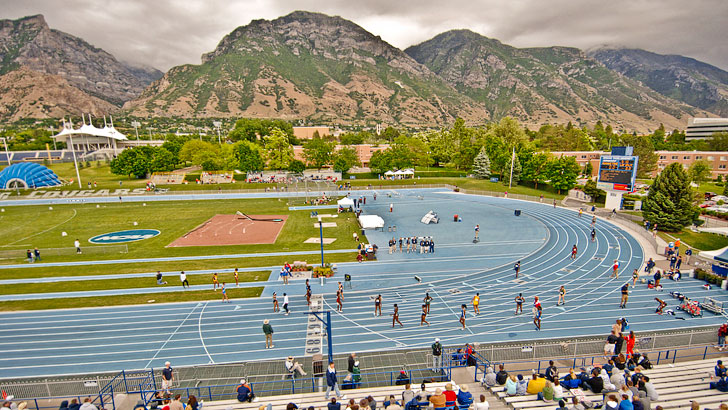 BYU Athletics captures track athletes on Clarence Robison Track and Field Complex preparing for a race