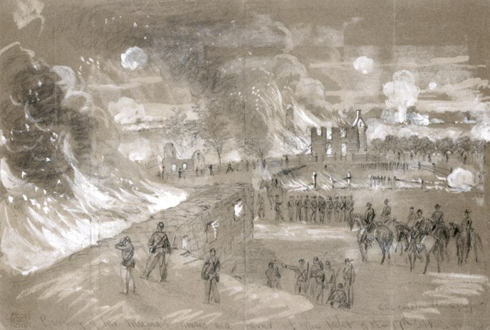 A sketch done by Alfred Waud depicting the burning of Mumma Farm