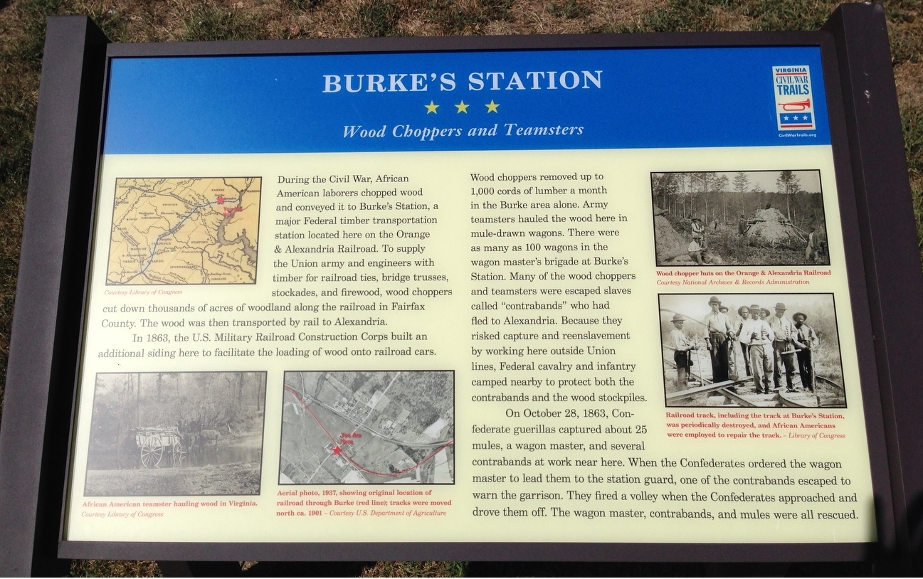 """Burke's Station: Wood Choppers and Teamsters"" Civil War Trails sign about 400 feet from the Burke Station site"