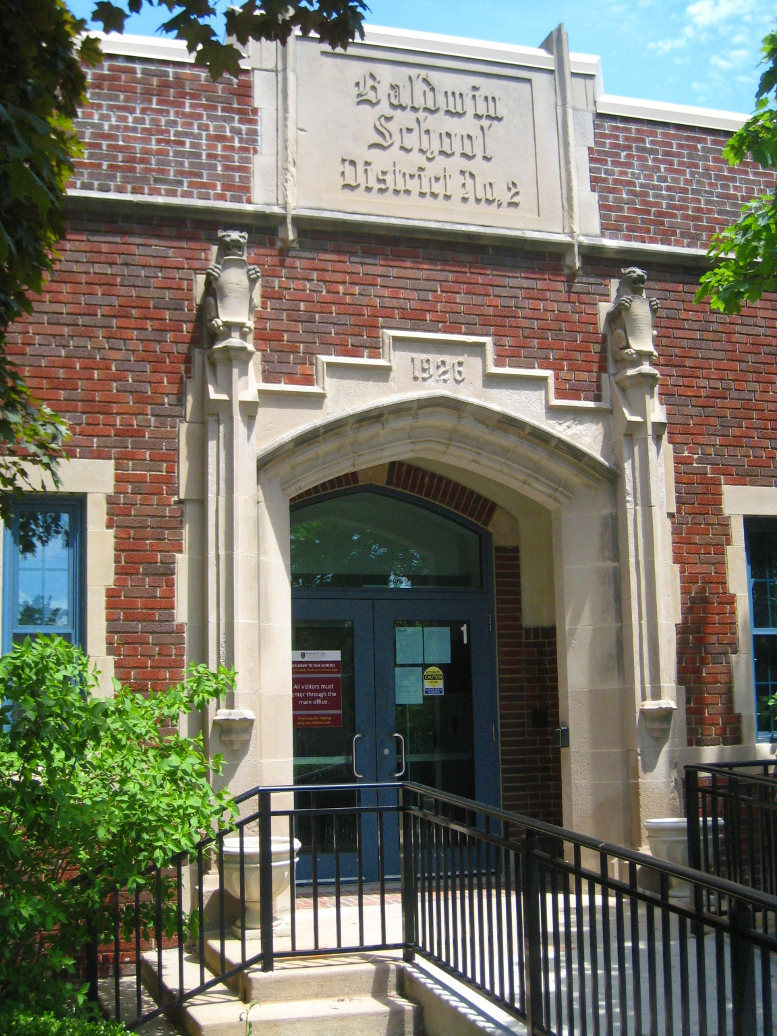 New Baldwin School building, south elevation main entrance, 2020