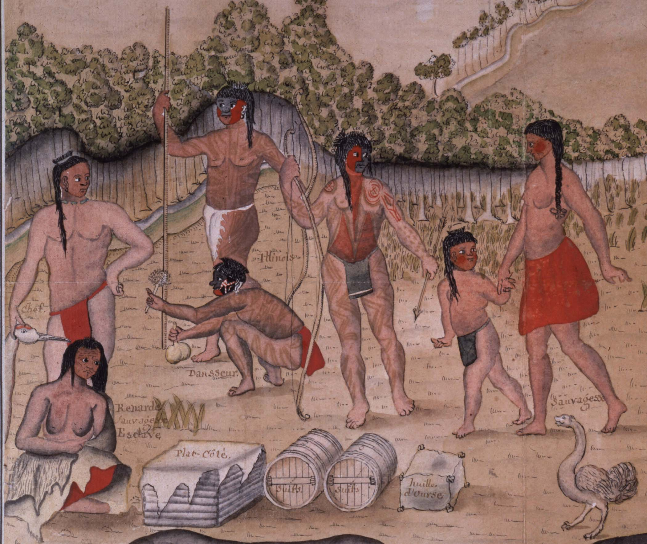 This 18th century painting depicts the Inoca natives. Early French explorers described the Inoca as fine and grace people who were full of life. The men were heavily tattooed and often acted as war chiefs and peace chiefs. Influential women served as peace chiefs, too.