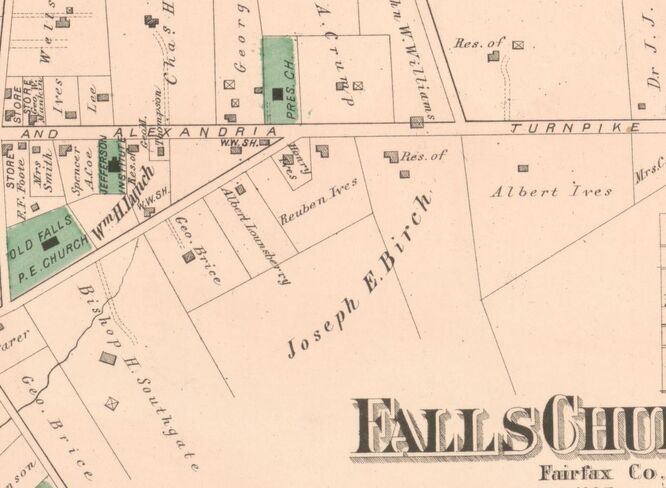 Birch House (Residence of Joseph E. Birch) on 1878 Hopkins Atlas map, Town of Falls Church, p. 64