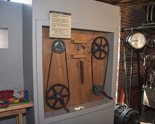 One of numerous hands-on exhibits in the Hosiery Museum.