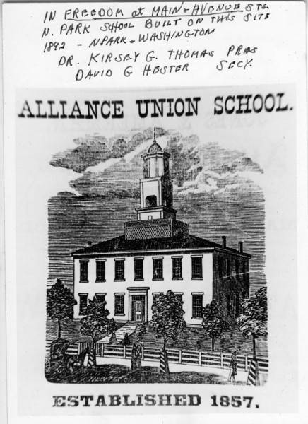 This etching of the first school built at N. Park and Washington appeared in McKee's 1868 Business Directory