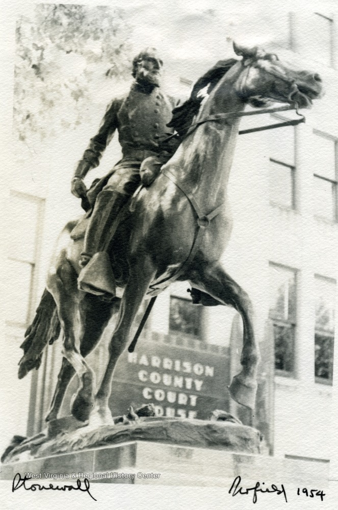 Stonewall Jackson Statue in Clarksburg, 1954.