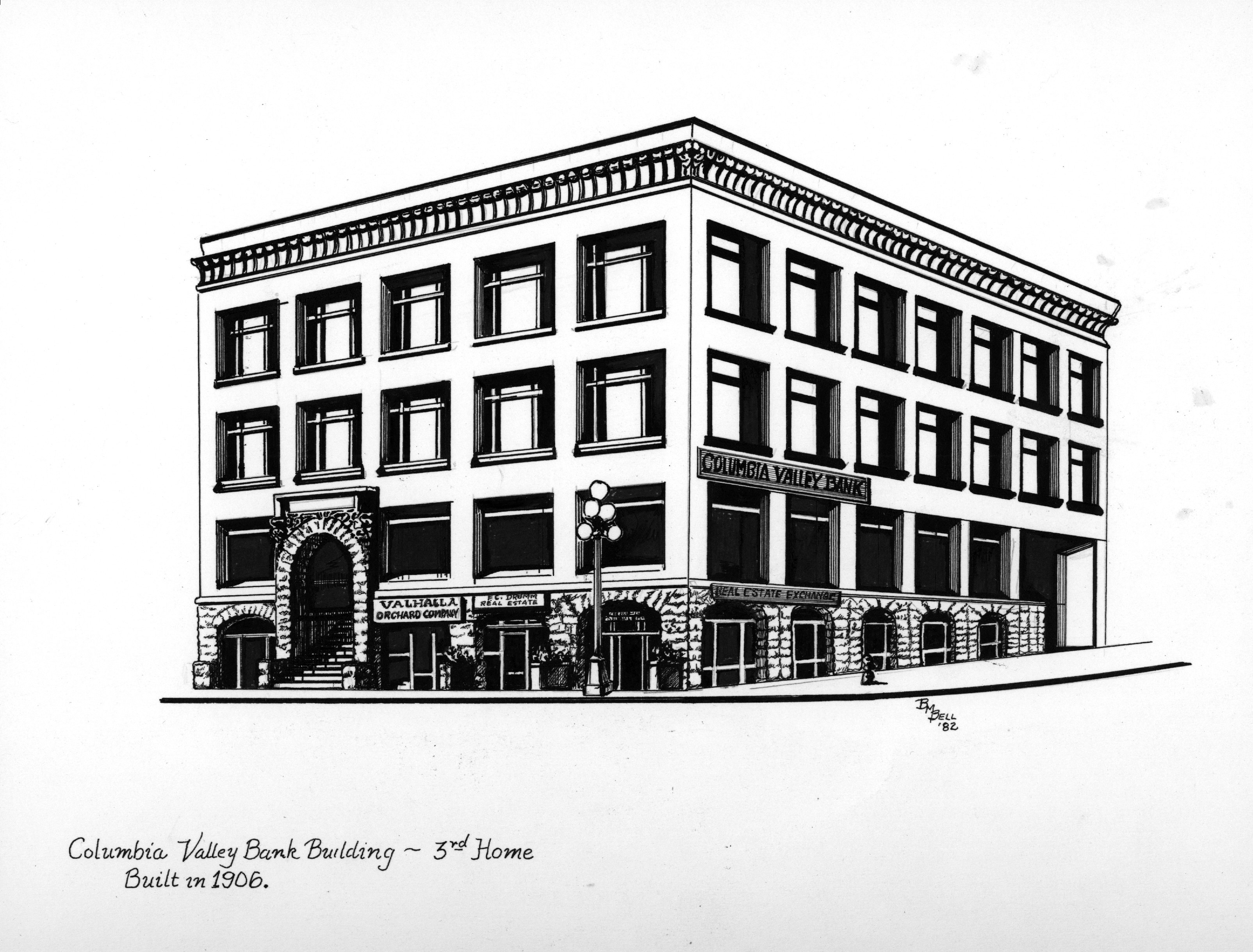 An illustration by artist Betty Bell of the third home of Columbia Valley Bank.
