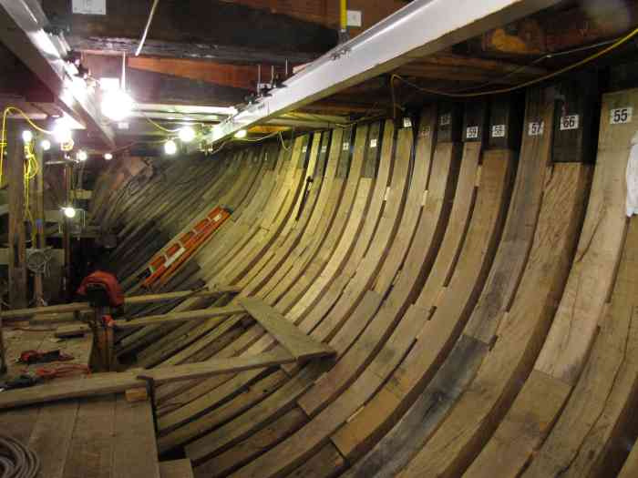 "The Morgan's exposed ""ribs"" during restoration."