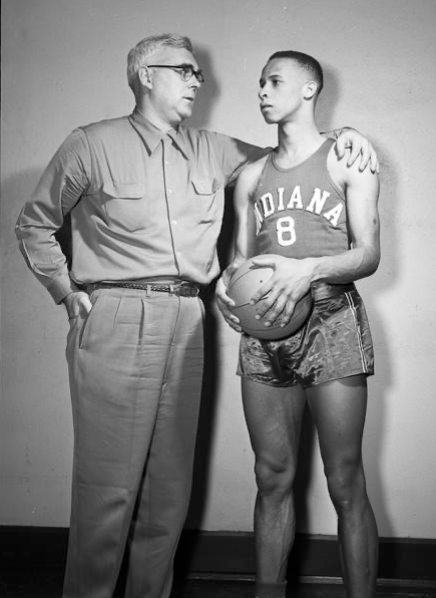 "Bill Garrett and Coach Branch McCracken in January of 1951. Bill Garrett's ability to run the floor allowed him to be a large part of McCracken's ""run and gun"" offense and the ""Hurryin Hoosiers."""