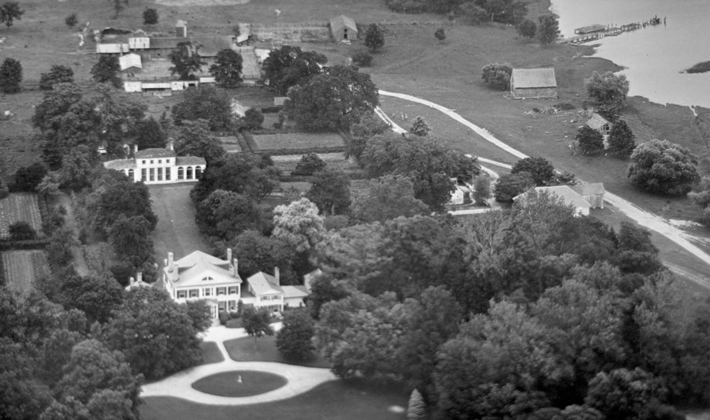 An aerial shot of the Wye Plantation taken in the 1930s.