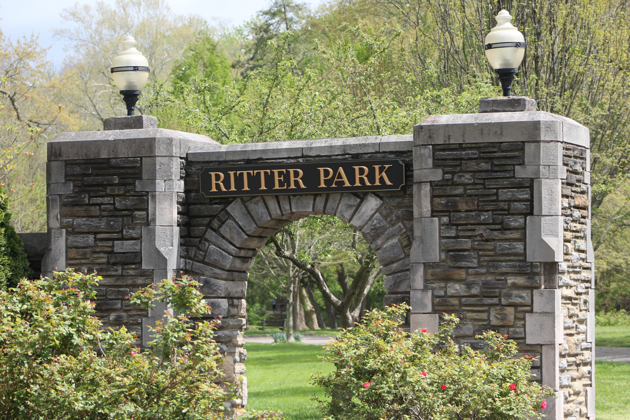One of the main entrances into Ritter Park is this stone archway, believed to have been built by the WPA in the 1930s.
