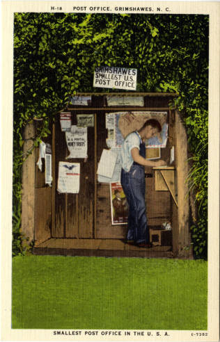 Thomas Bumgarner completes a money order in this postcard from circa 1930-1945