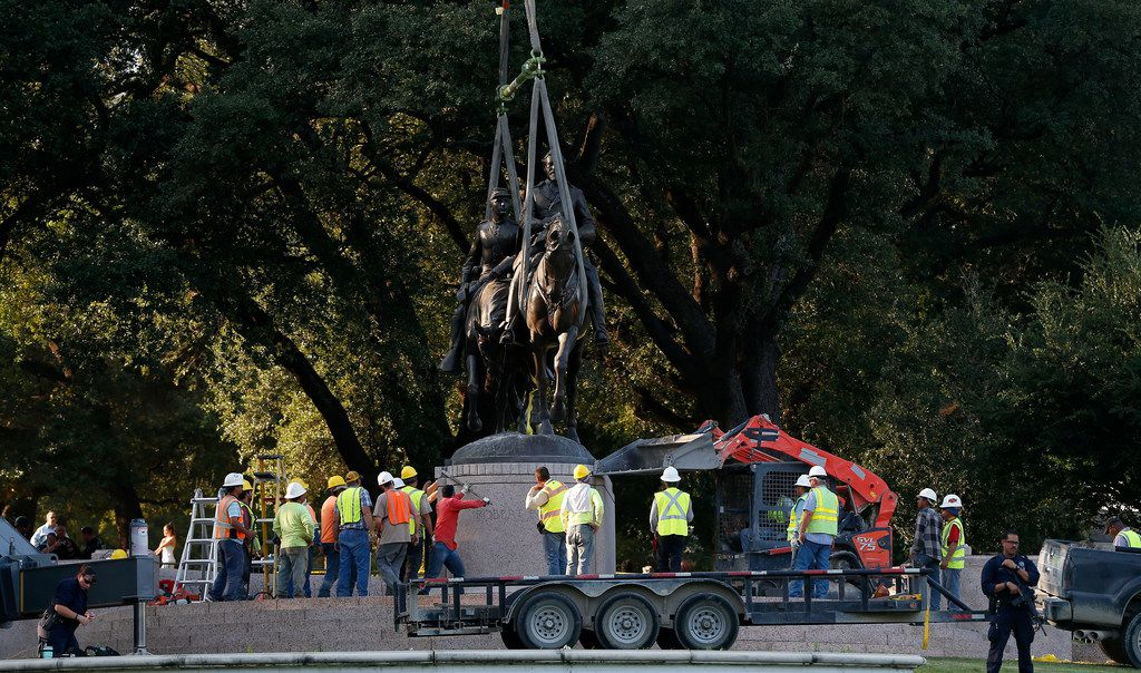 The removal of the Robert E. Lee monument from (Lee Park - Sept. 14, 2017) its pedestal. The process took a few hours, and after the monument was removed the pedestal was left behind. The pedestal was later removed.