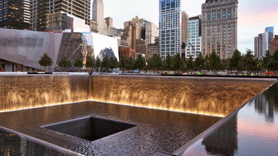View of the Waterfall at the 9/11 Memorial