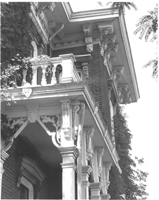 1982 photo of detail of front porch columns and brackets, Ball House, by Harry Mohler