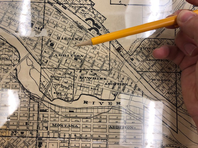 Map of Missoula from the period, showing the streetcar's route down Higgins Ave in proximity to the Mercantile Co..