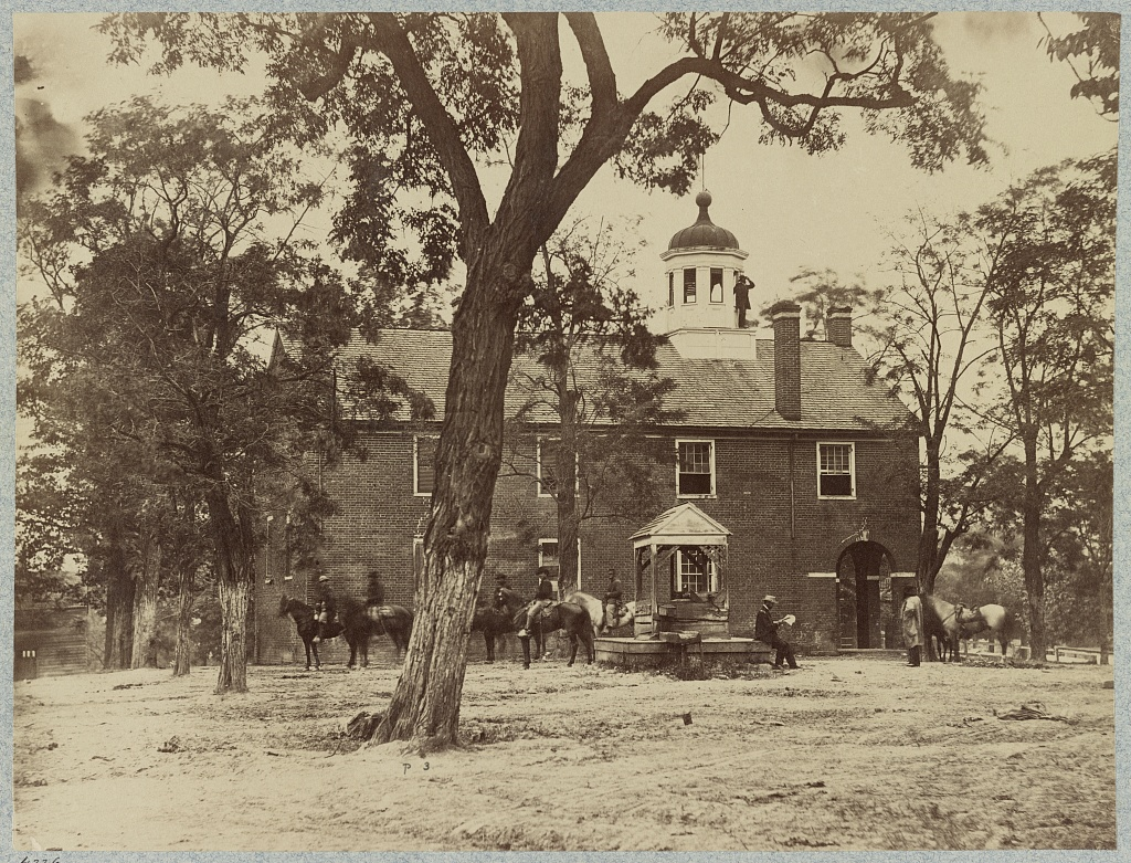 Soldiers at the Fairfax Courthouse in June 1863. Photograph by Timothy H. O'Sullivan.