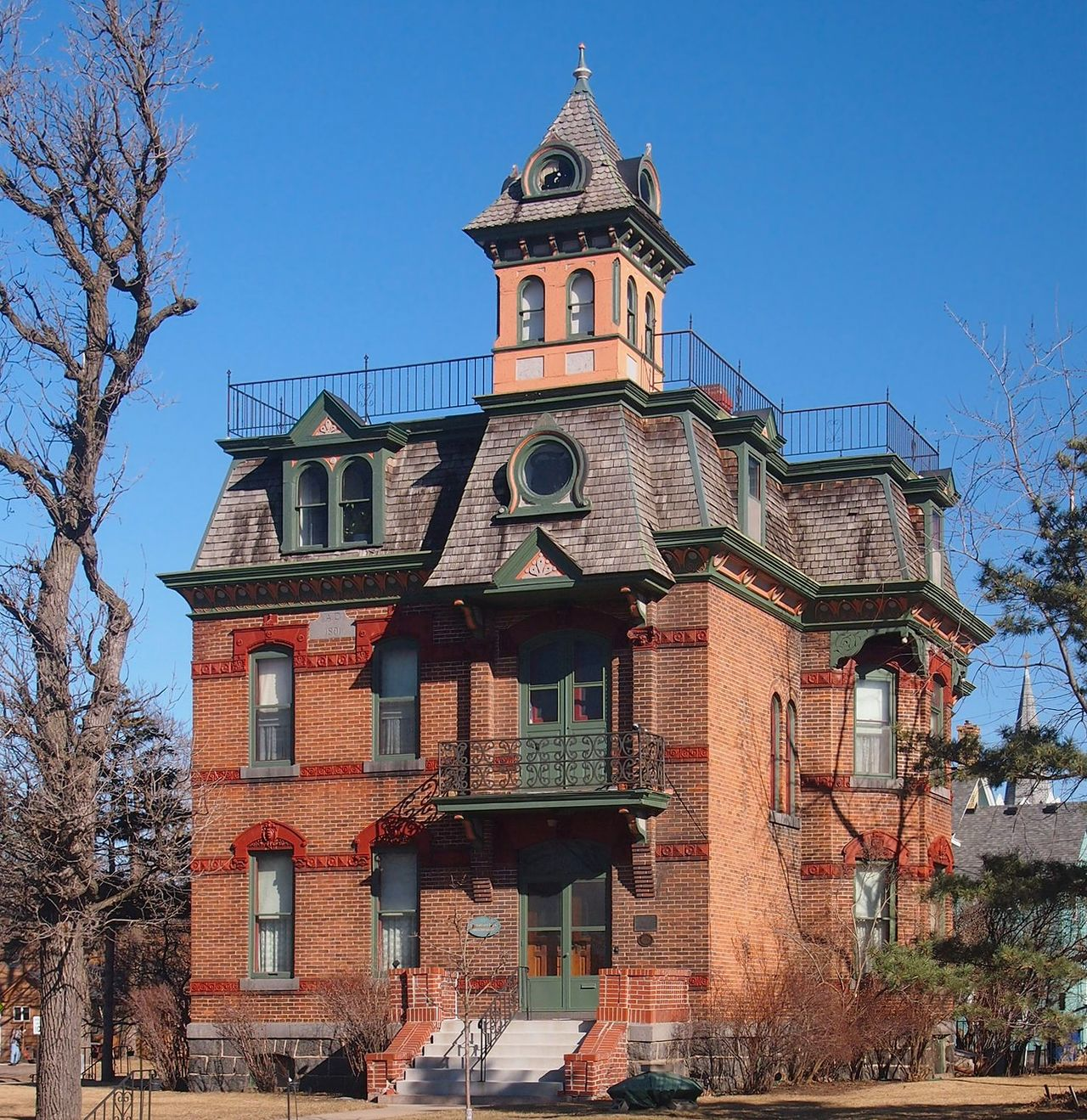 The Michael Majerus House was erected in 1891 and is the finest example of the French Second Empire style in St. Cloud.