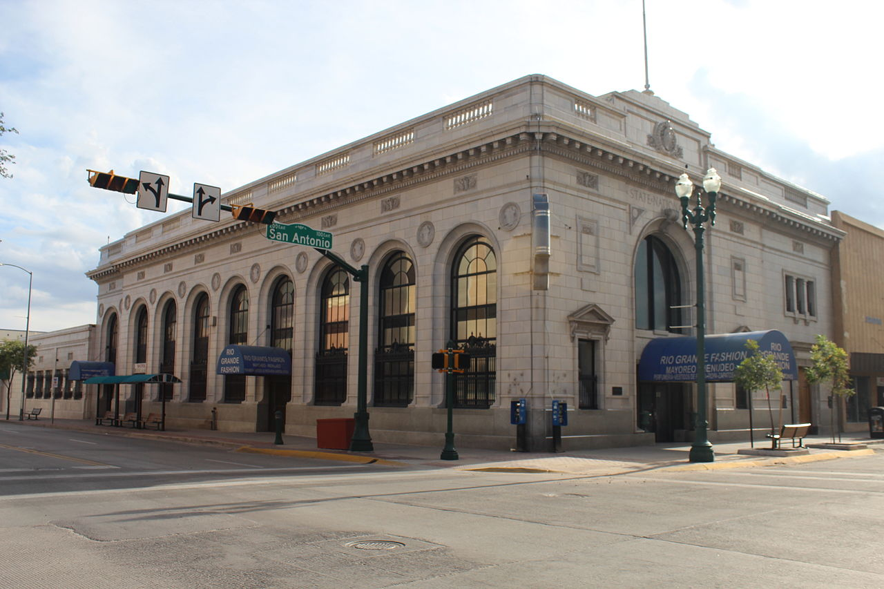 The old State National Bank building was erected in 1922 and continues to symbolize the city's rapid growth during the early 20th century.