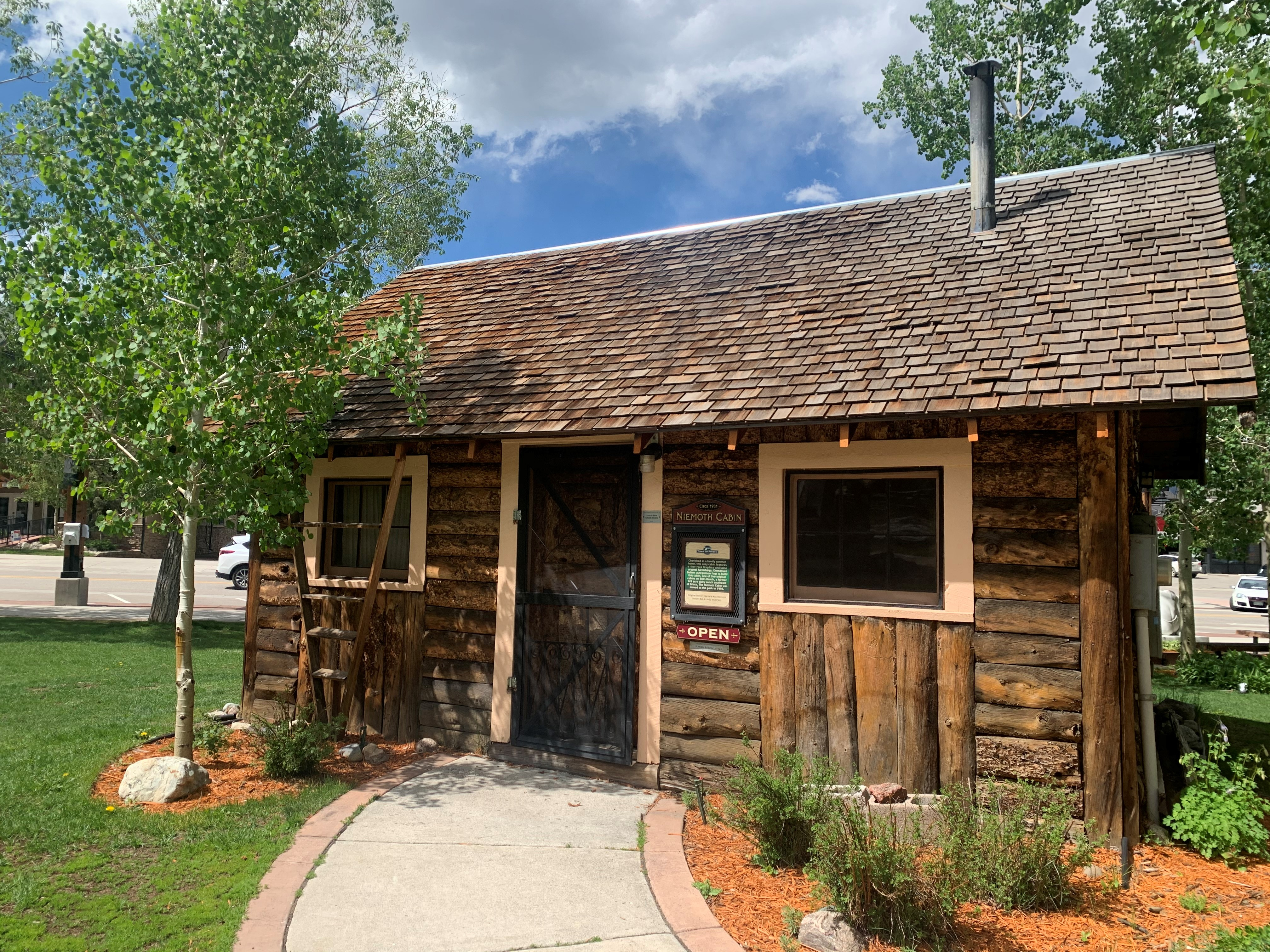 Exterior of the Niemoth Cabin, situated in the Frisco Historic Park. Circa June, 2020.