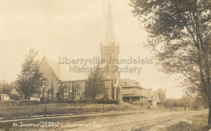St. Joseph Church, looking west along Maple Avenue, 1915