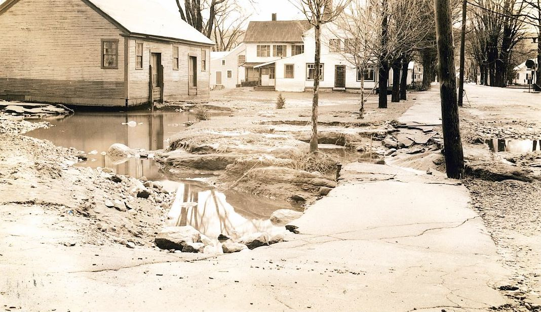 Image of the Contoocook freight house following the flood of 1936.