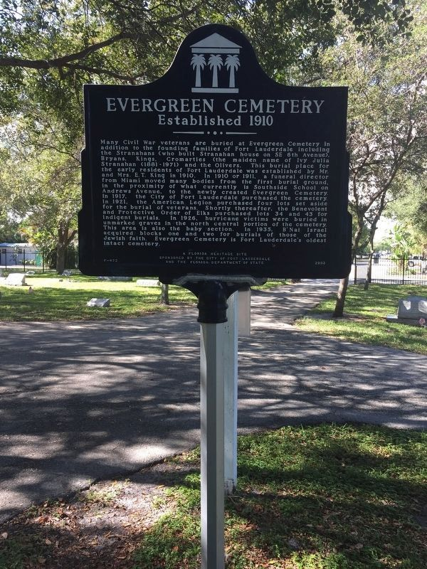 Evergreen Cemetery was established in 1910 or 1911 and is one of the oldest cemeteries in the county.
