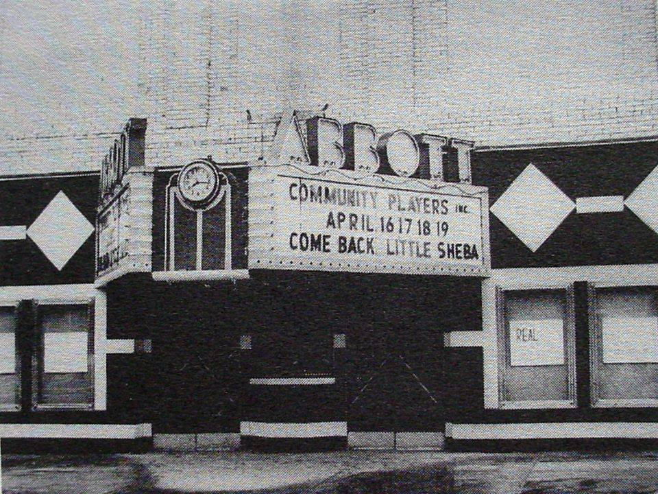 The Abbott marquee advertising a performance by the Community Players
