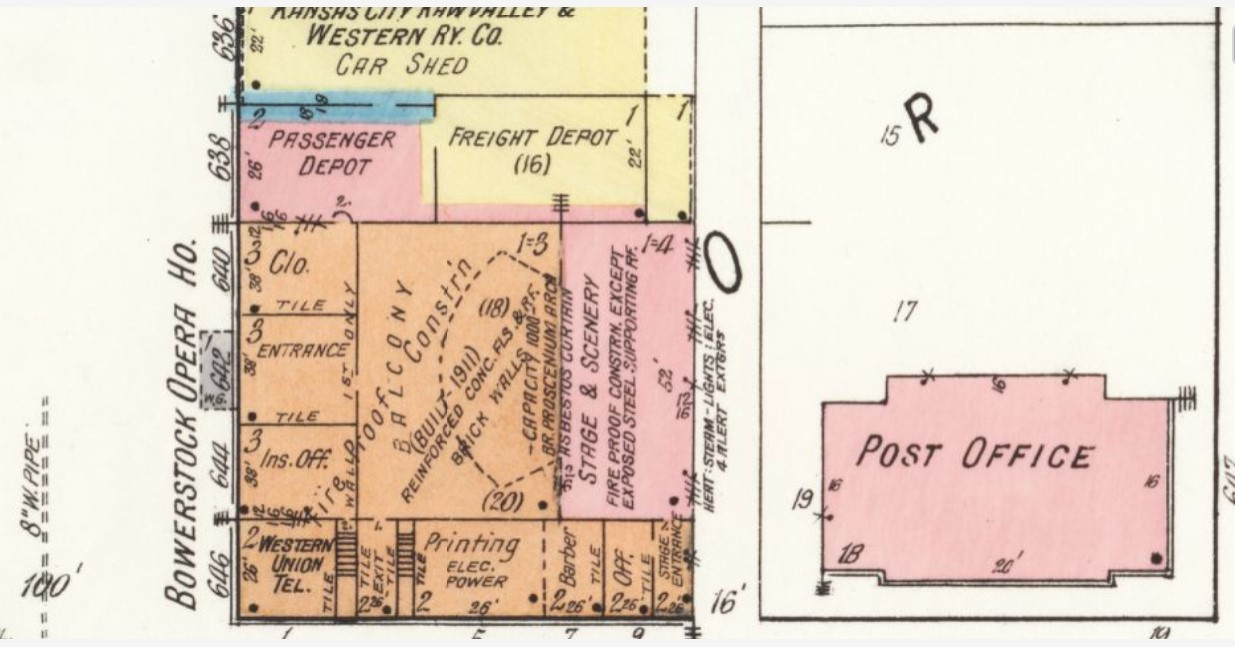 New opera house building on 1918 map, later renamed Liberty Hall again (Sanborn Map Company p. 3)