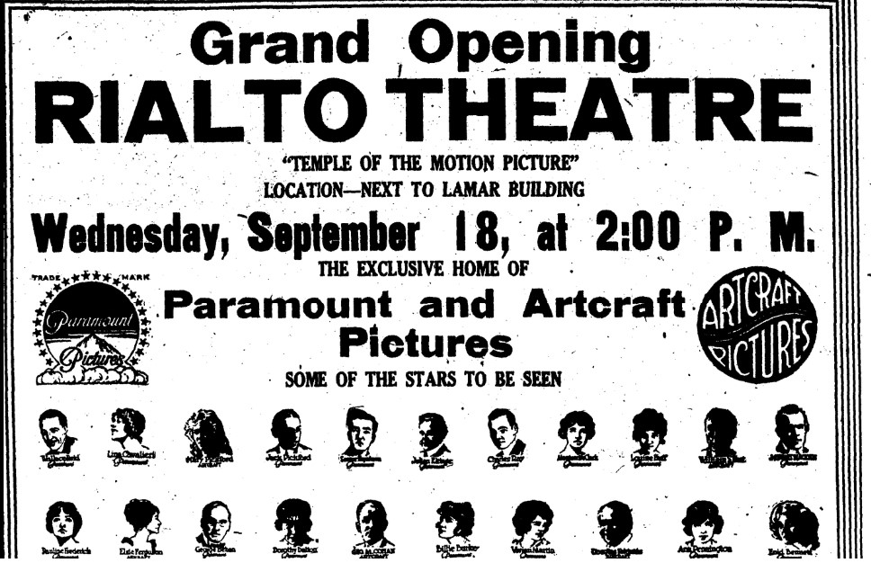 Ad for grand opening of Rialto Theater