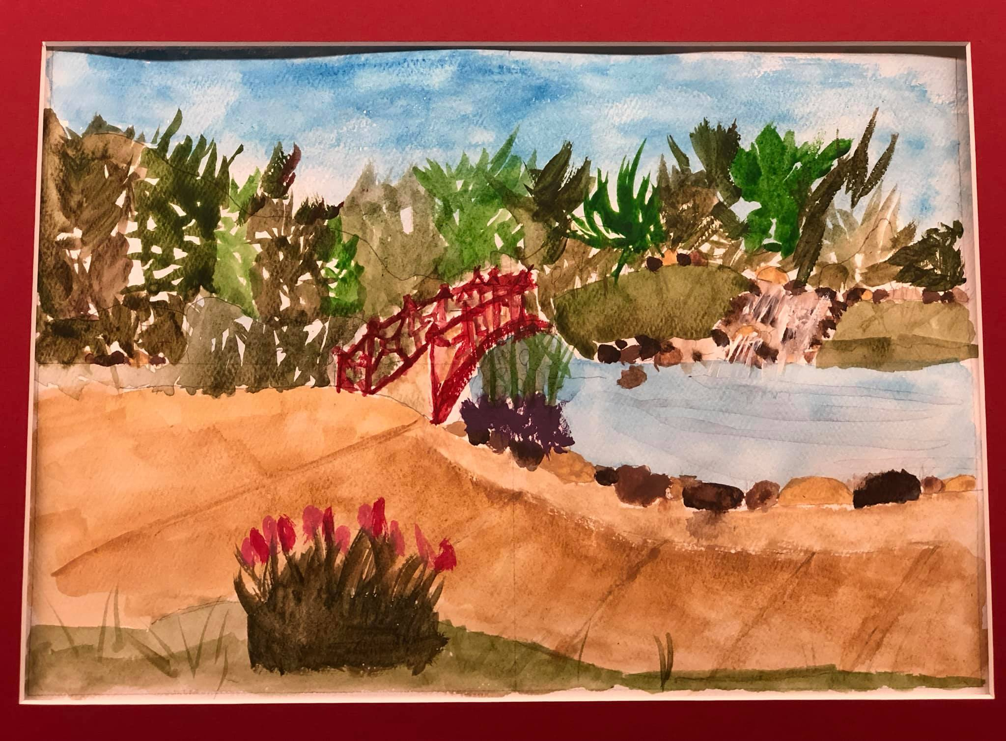 Watercolor of waterfall and pond area completed during public event.
