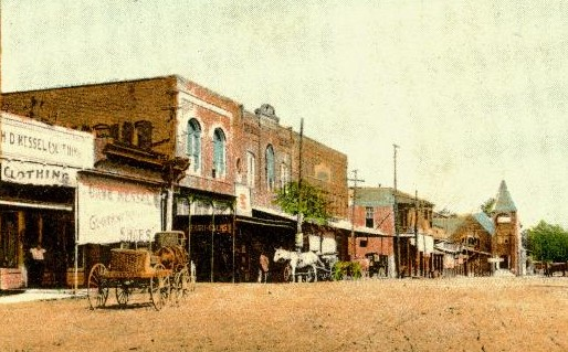 Ruston State Bank & N. Trenton Street - the bank is the building with the sunshade behind the buggy, c. 1910