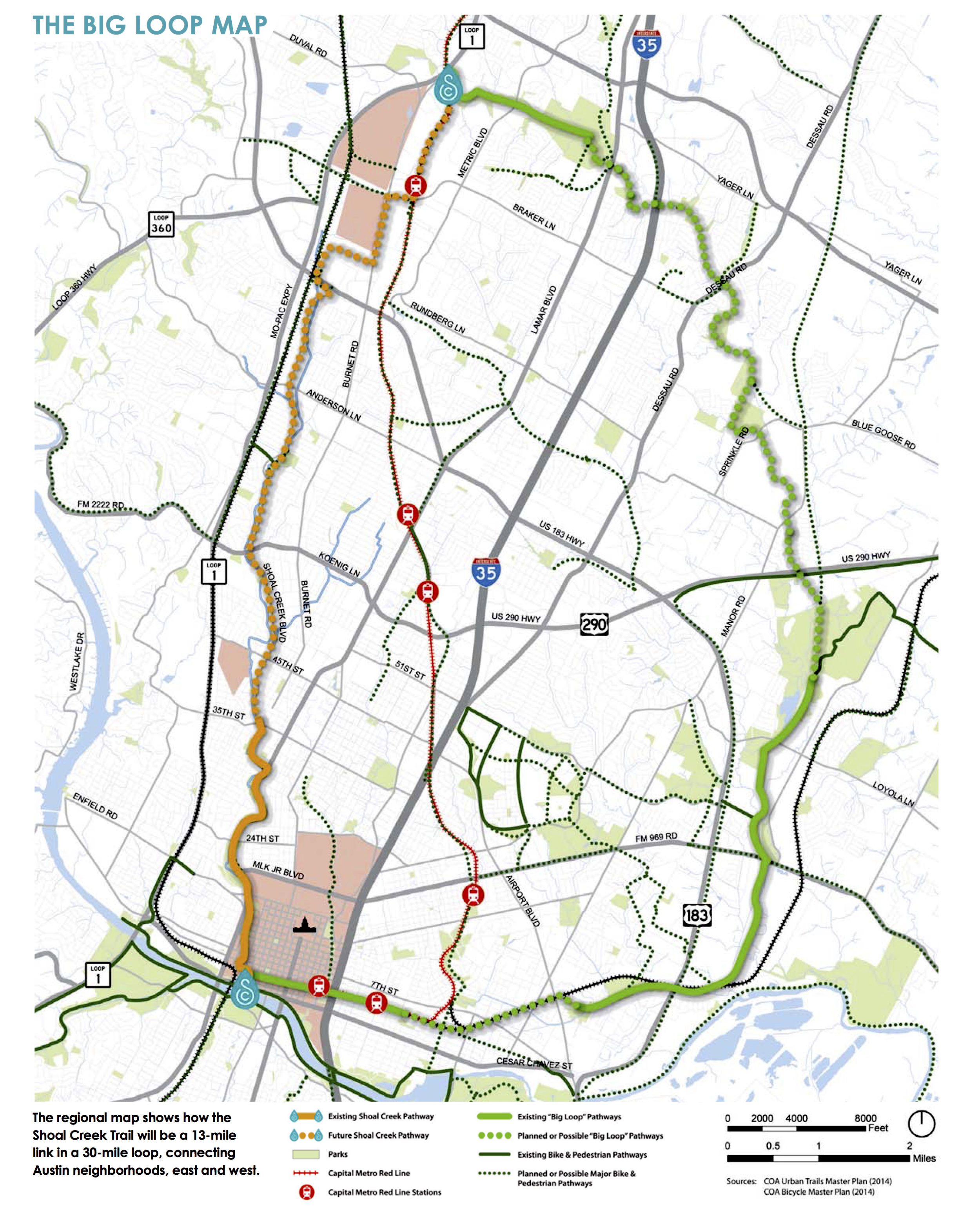 """An illustration of what the proposed trail expansion would look like once connected to the existing trails, which will then be called the """"Big Loop""""."""