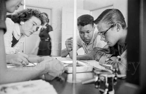 Students working together at Pleasanton High School in 1957